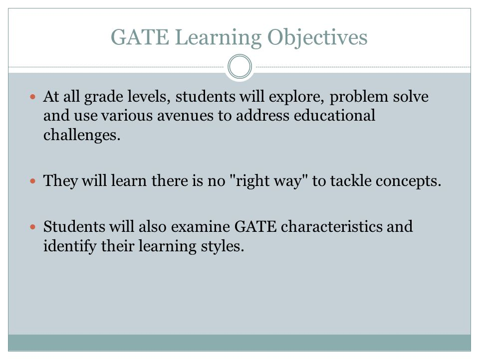 GATE Learning Objectives