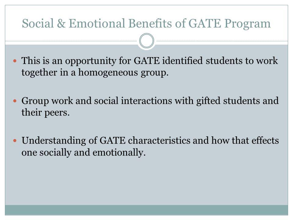 Social & Emotional Benefits of GATE Program