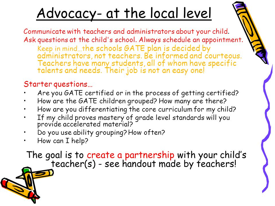 Advocacy- at the local level