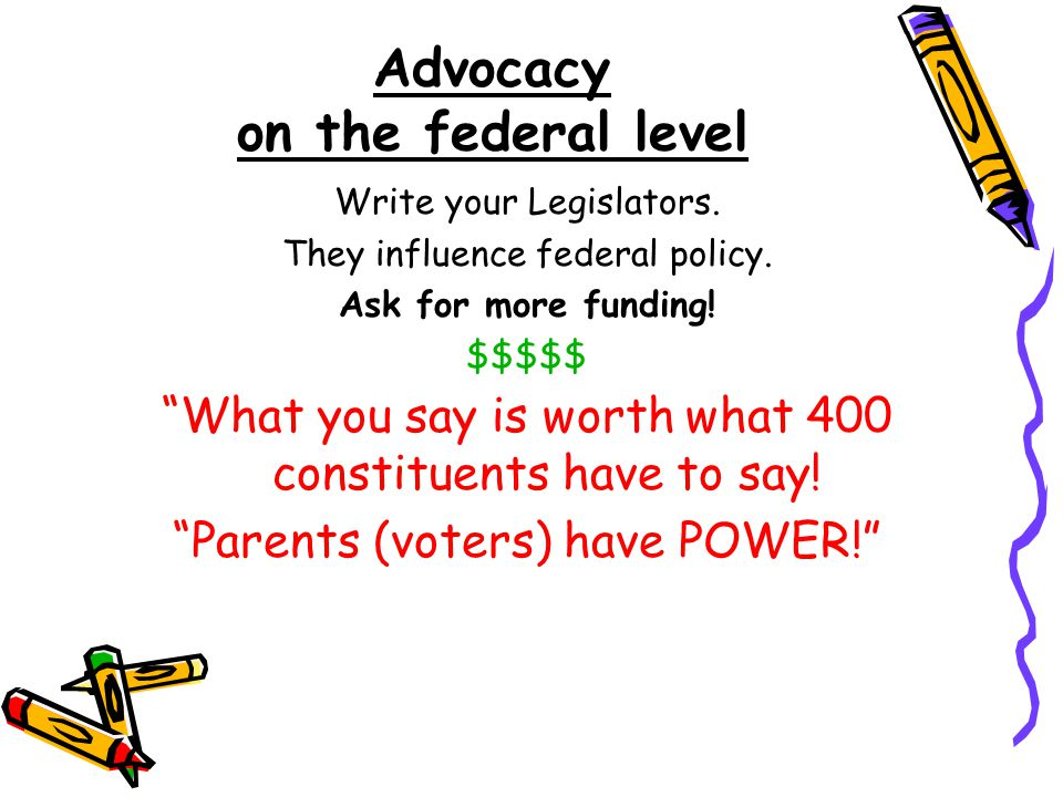 Advocacy on the federal level