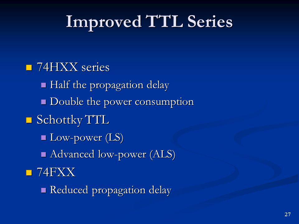 Improved TTL Series 74HXX series Schottky TTL 74FXX