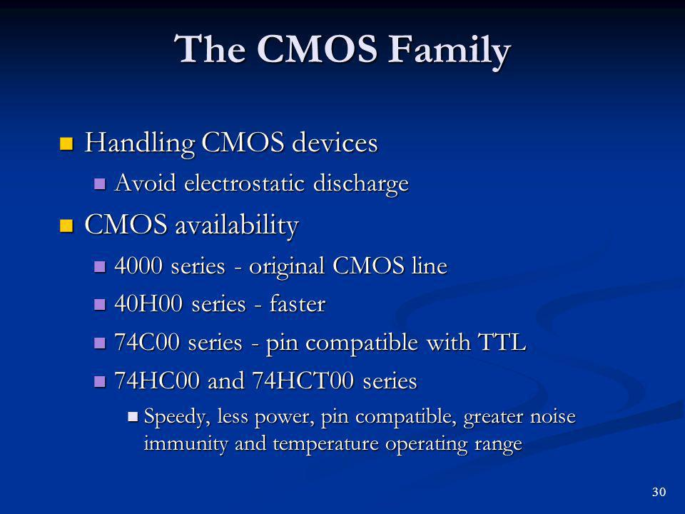 The CMOS Family Handling CMOS devices CMOS availability