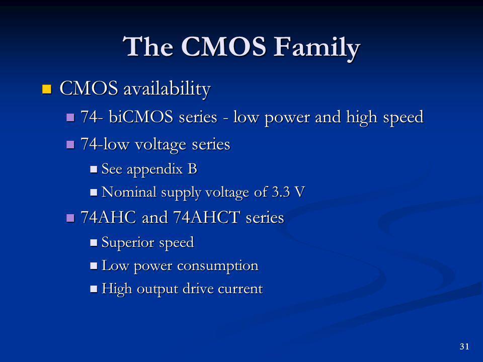 The CMOS Family CMOS availability