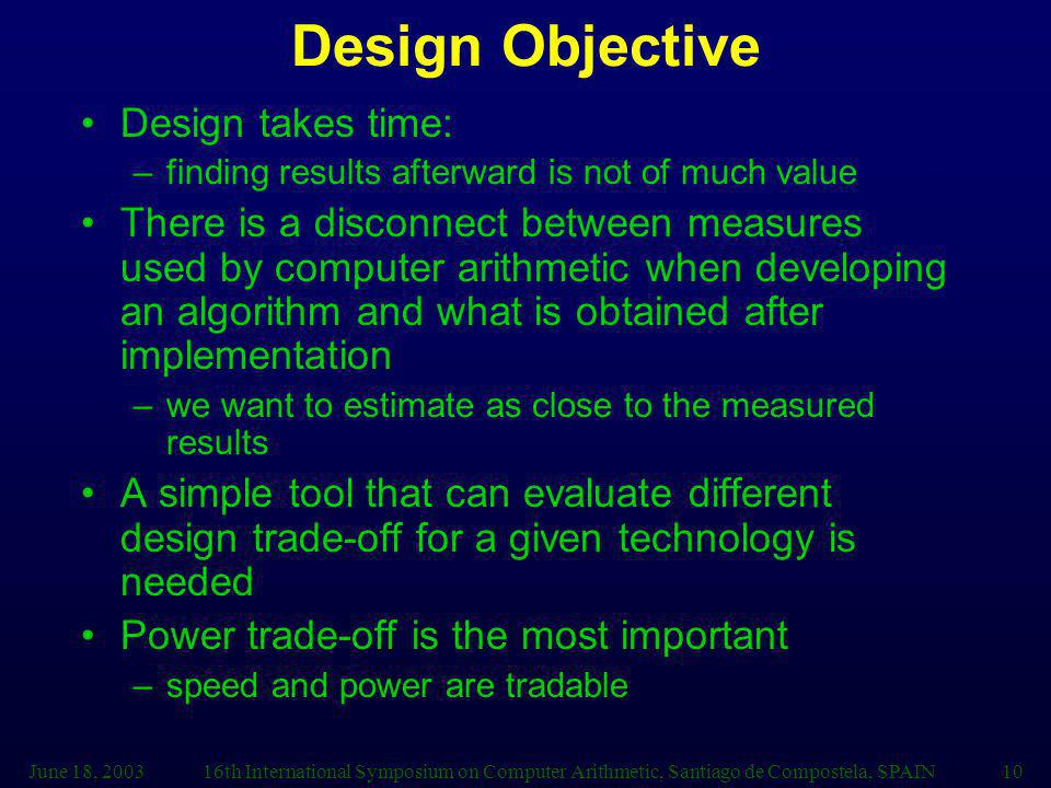 Design Objective Design takes time: