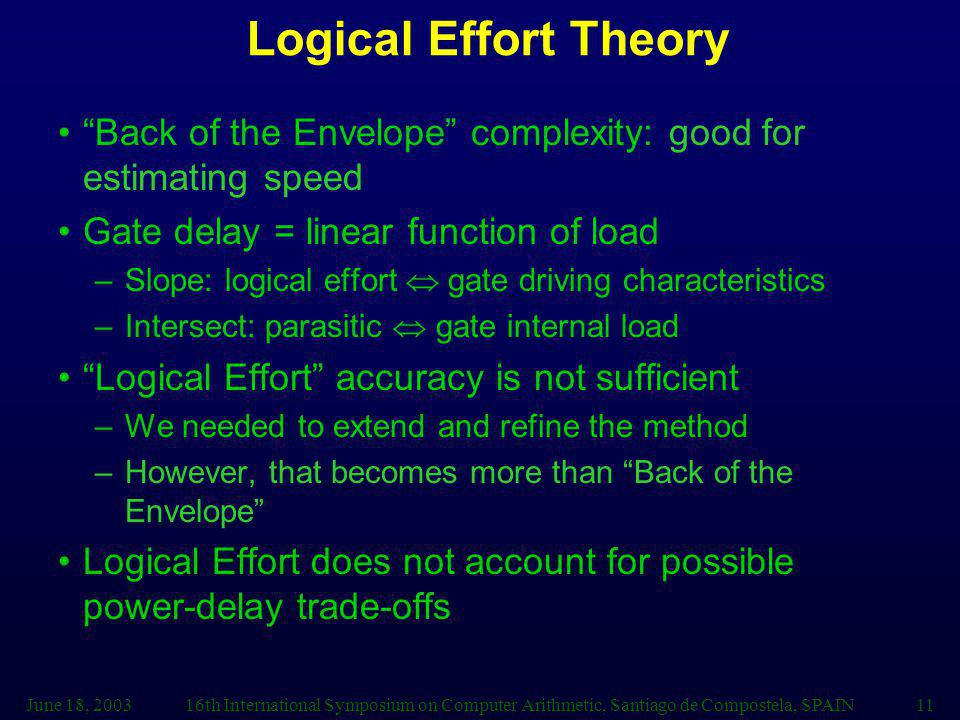 Logical Effort Theory Back of the Envelope complexity: good for estimating speed. Gate delay = linear function of load.