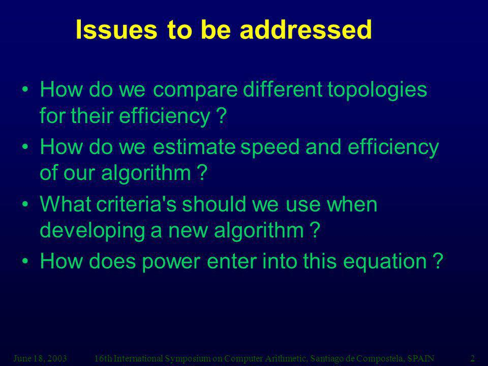 Issues to be addressed How do we compare different topologies for their efficiency How do we estimate speed and efficiency of our algorithm