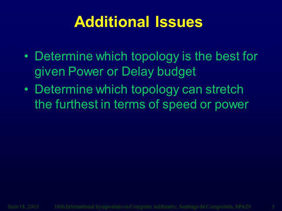 Additional Issues Determine which topology is the best for given Power or Delay budget.