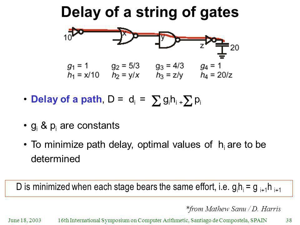 Delay of a string of gates