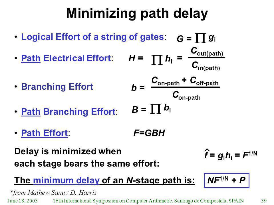    Minimizing path delay gi Logical Effort of a string of gates: