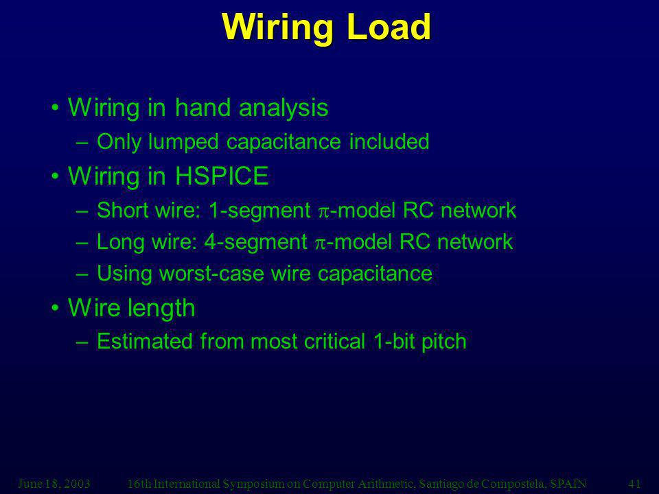 Wiring Load Wiring in hand analysis Wiring in HSPICE Wire length