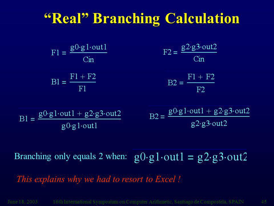 Real Branching Calculation