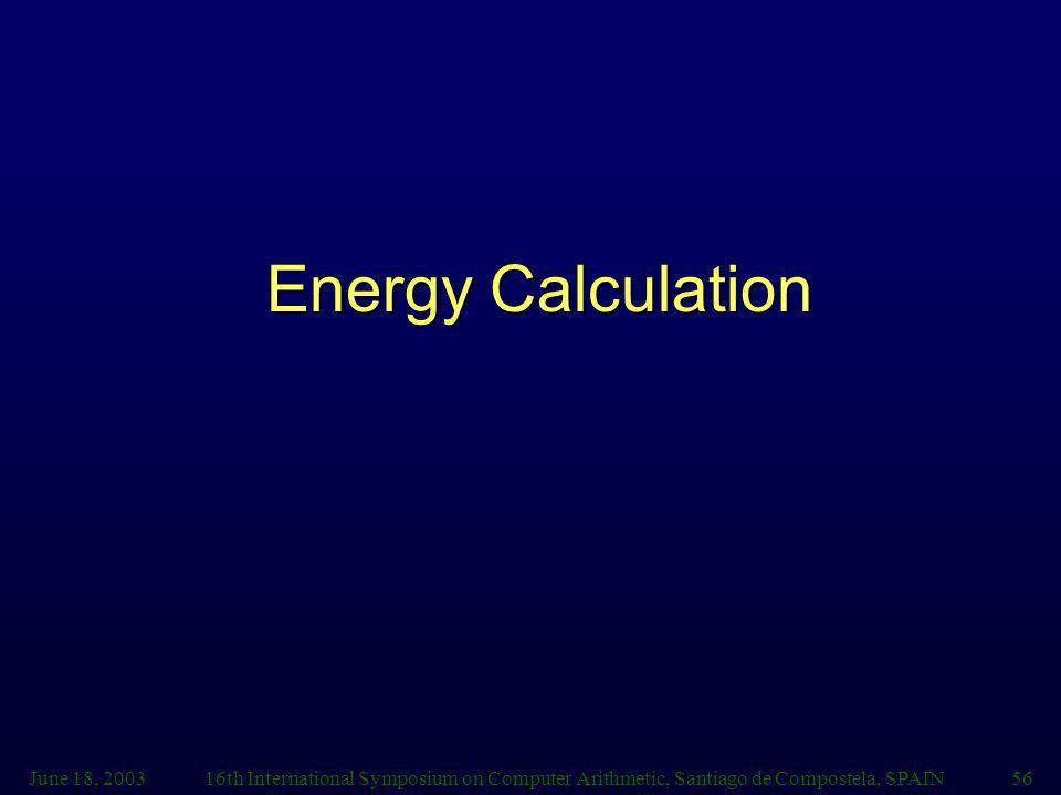 Energy Calculation June 18, 2003