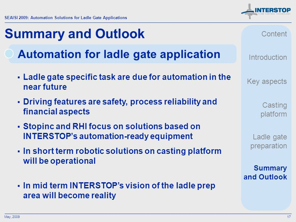 Summary and Outlook Automation for ladle gate application