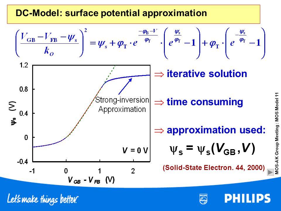 s = s(VGB ,V )  iterative solution  time consuming