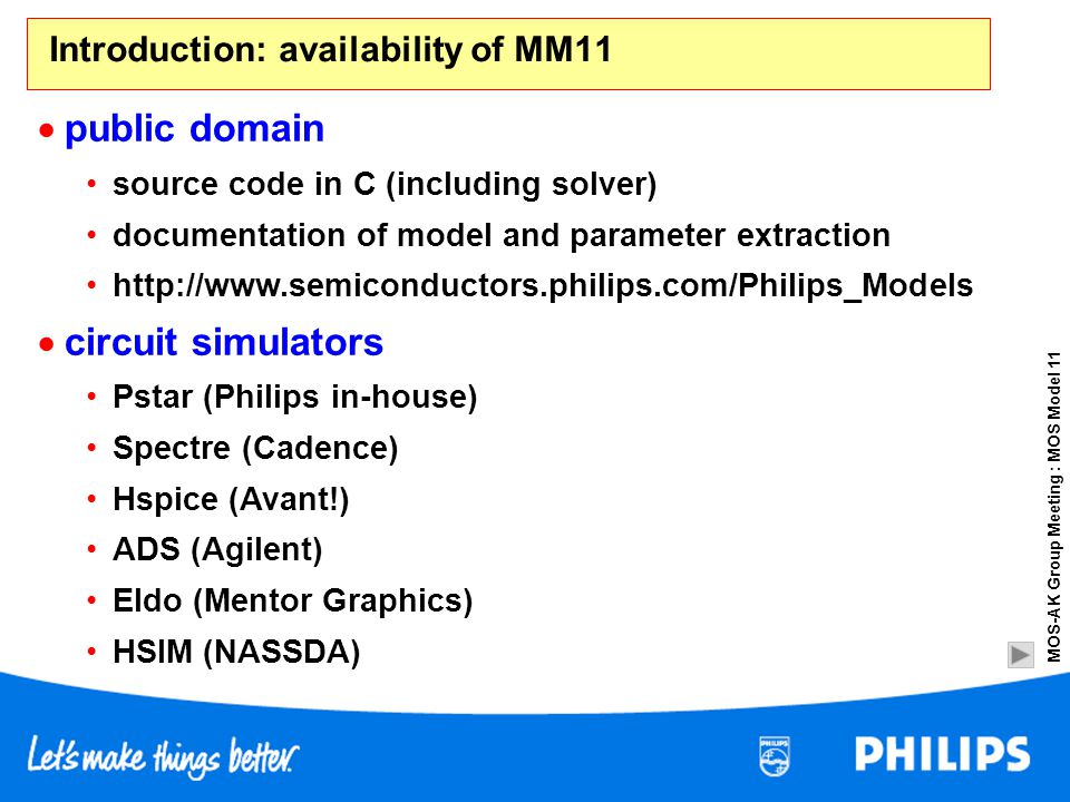 Introduction: availability of MM11
