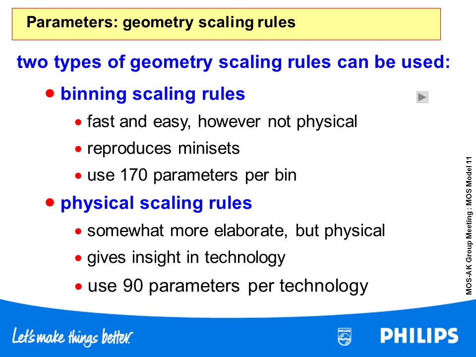 Parameters: geometry scaling rules