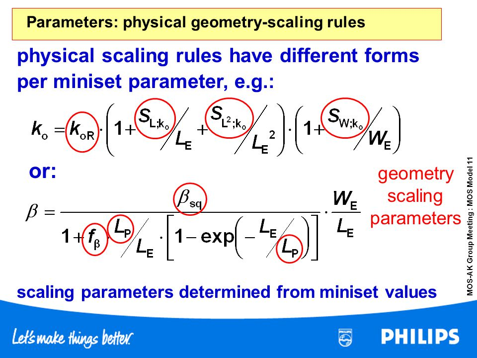 Parameters: physical geometry-scaling rules