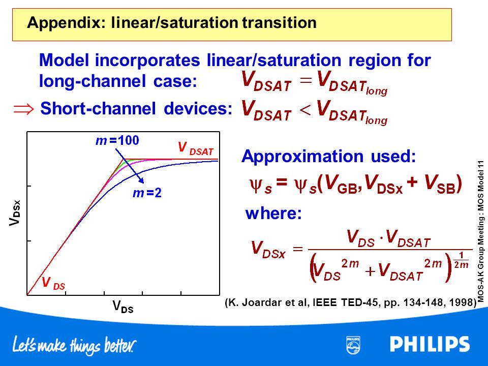 Appendix: linear/saturation transition