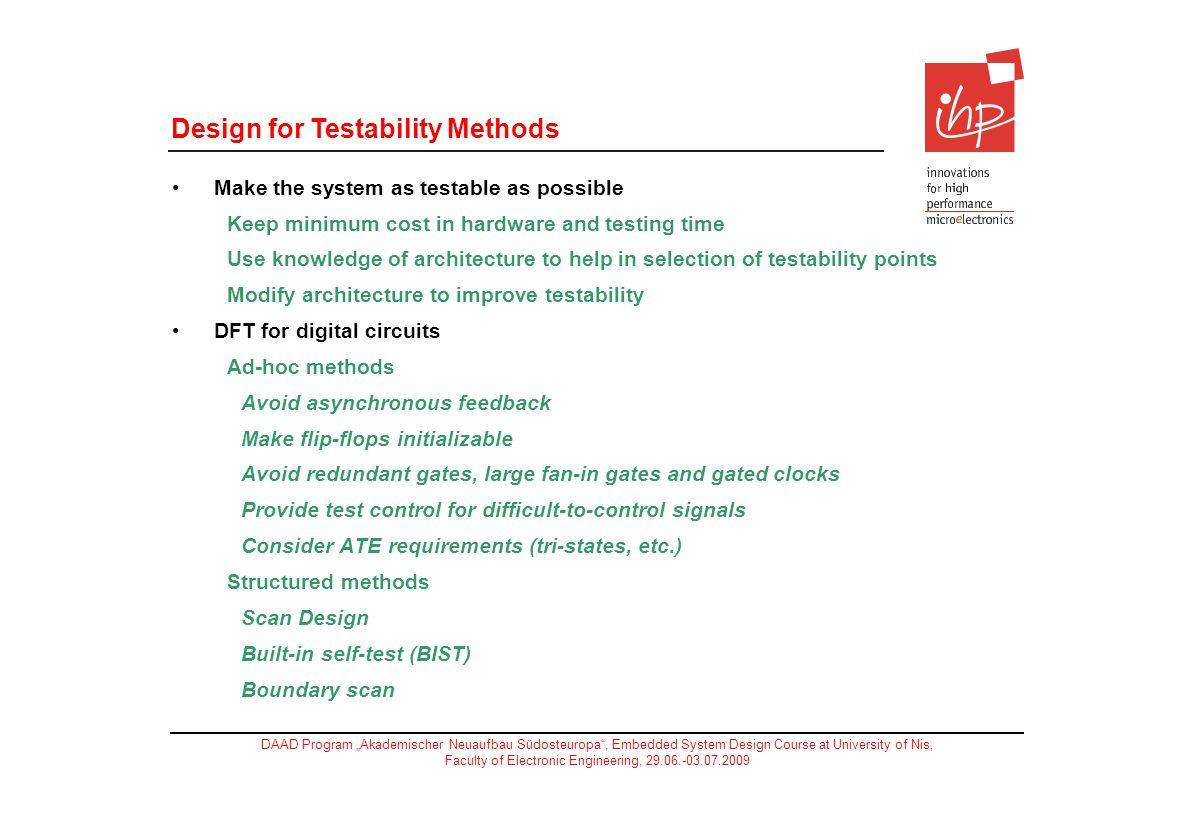 Design for Testability Methods