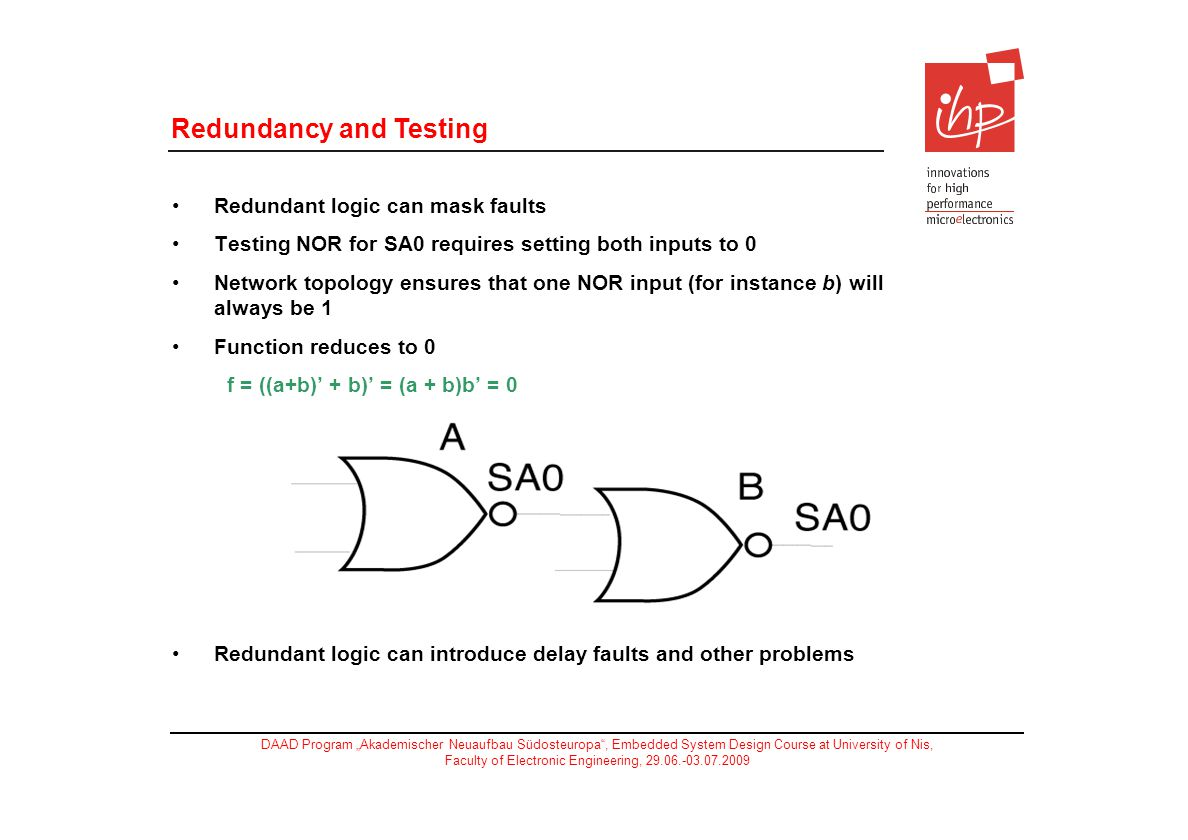 Redundancy and Testing