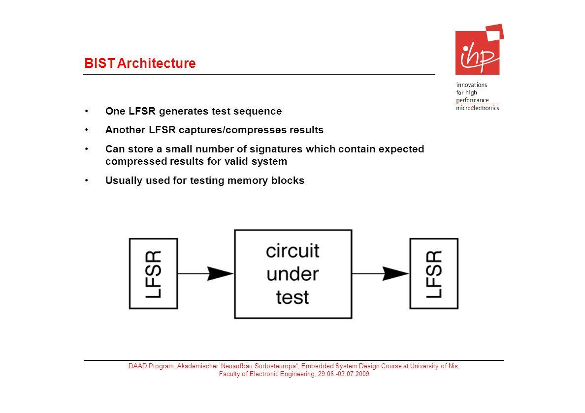 BIST Architecture One LFSR generates test sequence