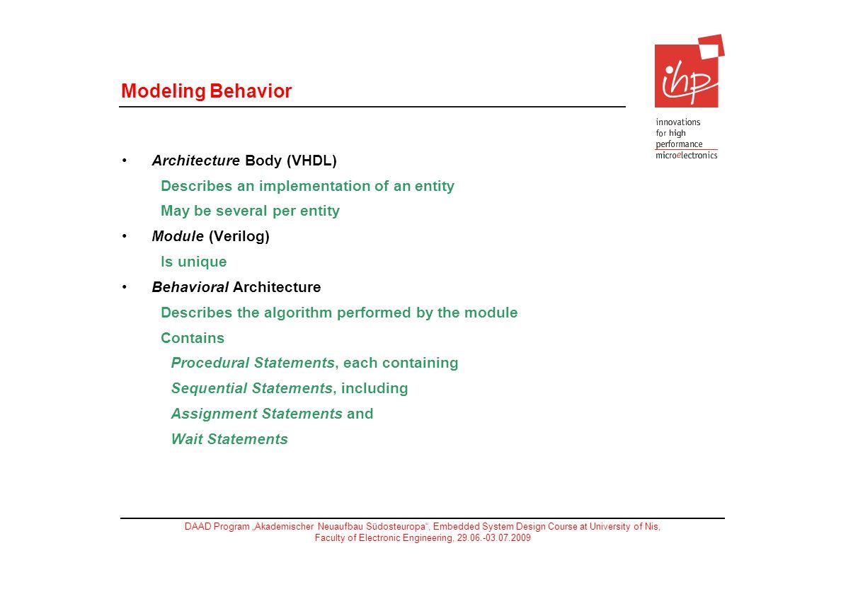 Modeling Behavior Architecture Body (VHDL)