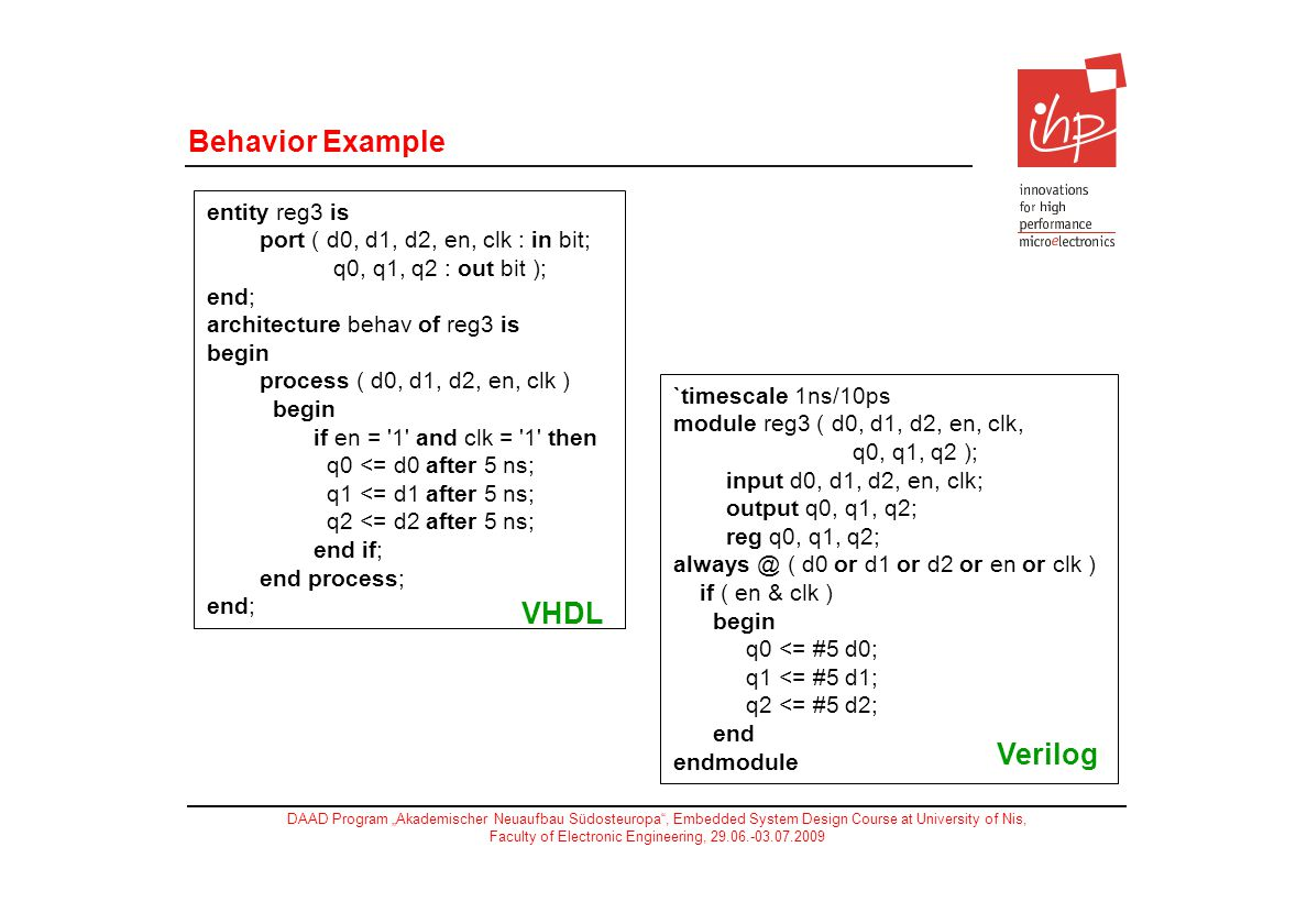 Behavior Example VHDL Verilog