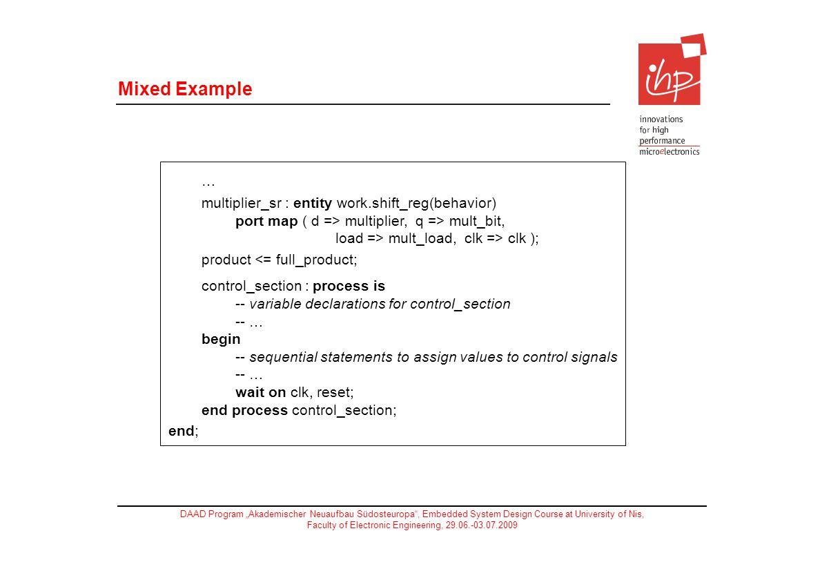 Mixed Example … multiplier_sr : entity work.shift_reg(behavior) port map ( d => multiplier, q => mult_bit, load => mult_load, clk => clk );