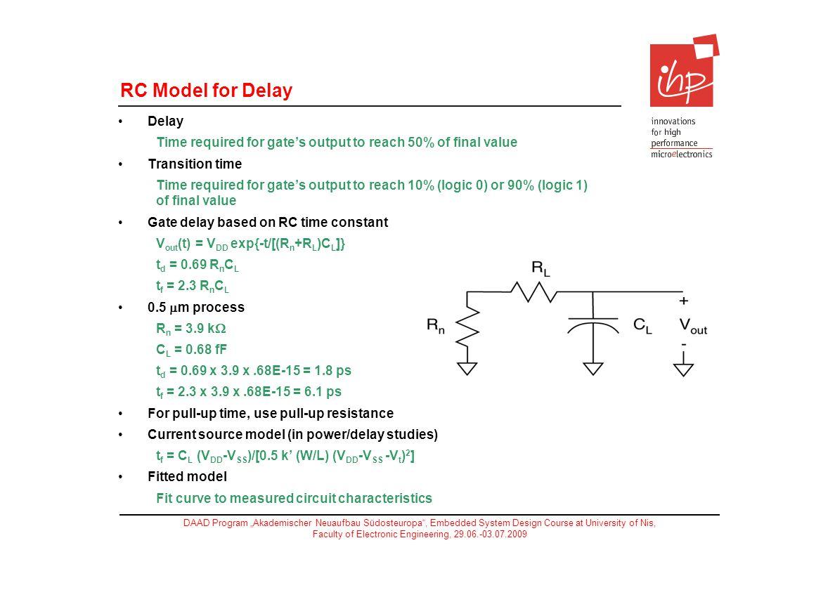 RC Model for Delay Delay