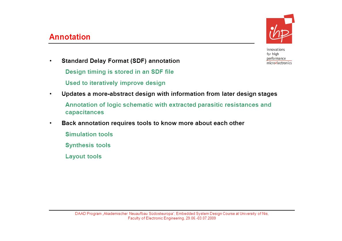Annotation Standard Delay Format (SDF) annotation