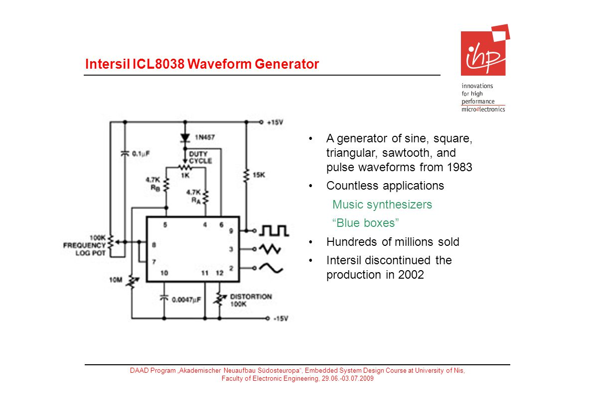 Intersil ICL8038 Waveform Generator