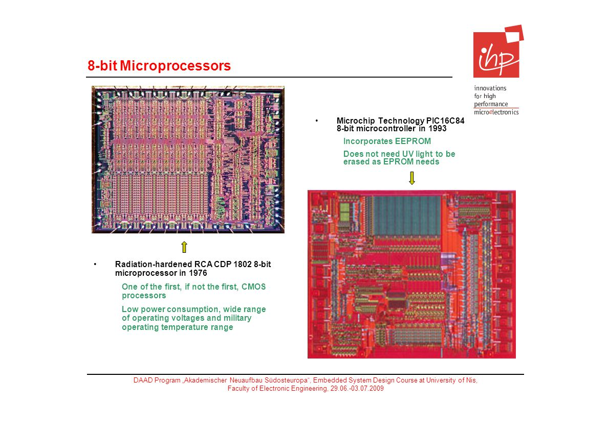 8-bit Microprocessors Microchip Technology PIC16C84 8-bit microcontroller in Incorporates EEPROM.