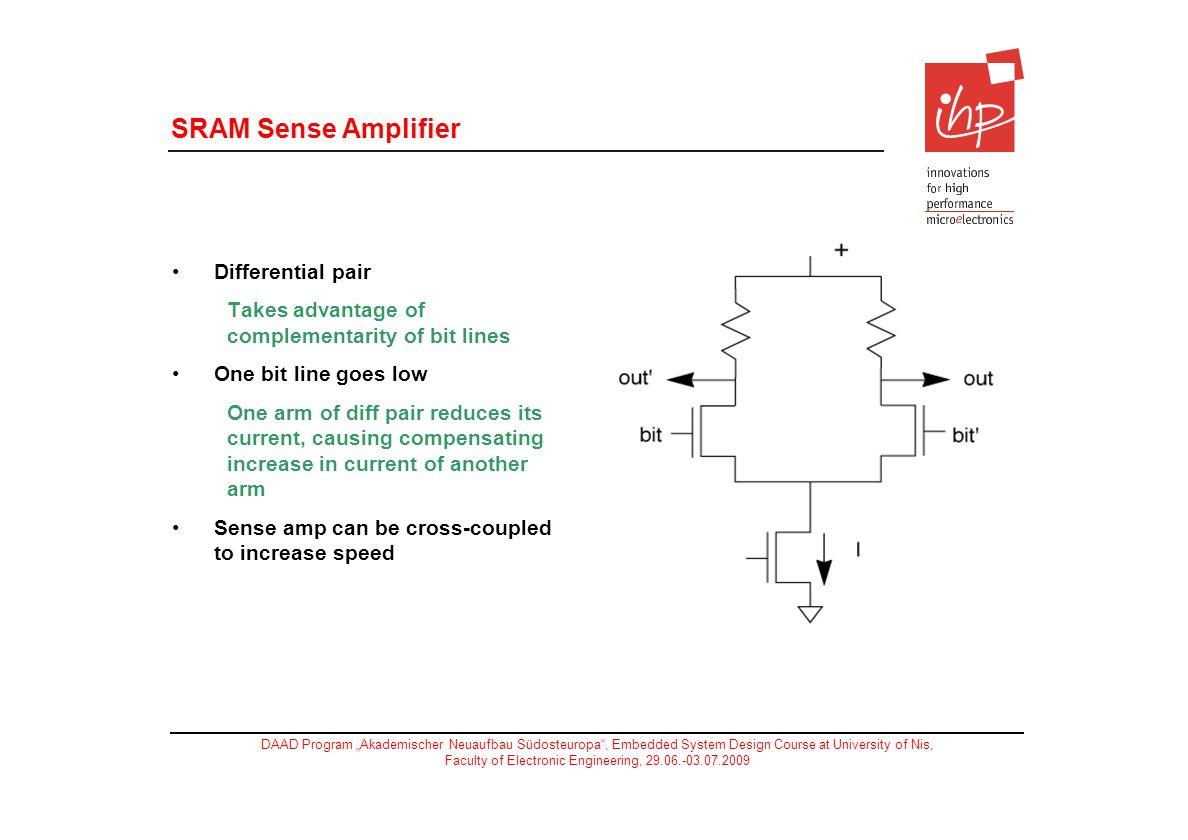SRAM Sense Amplifier Differential pair