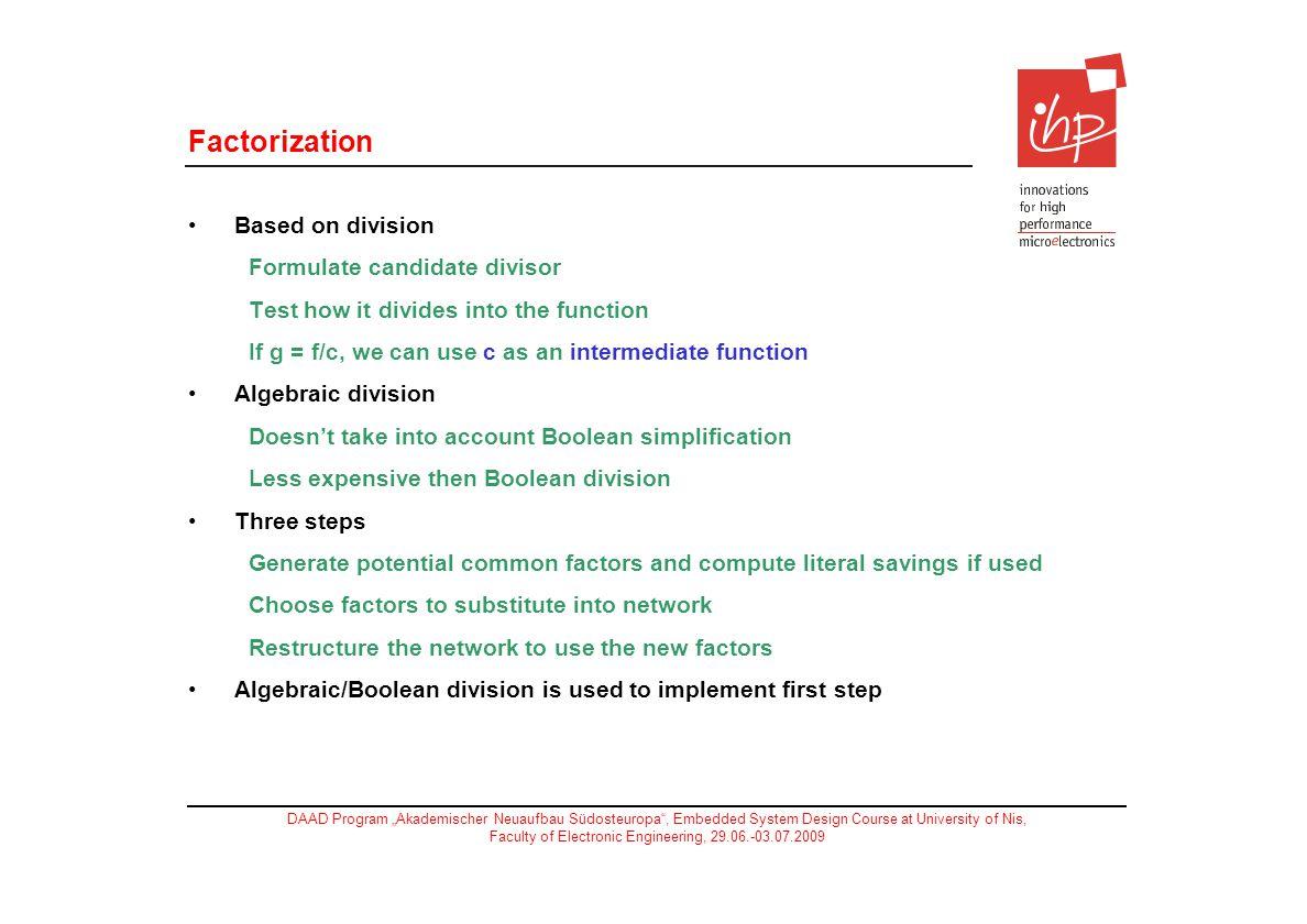 Factorization Based on division Formulate candidate divisor