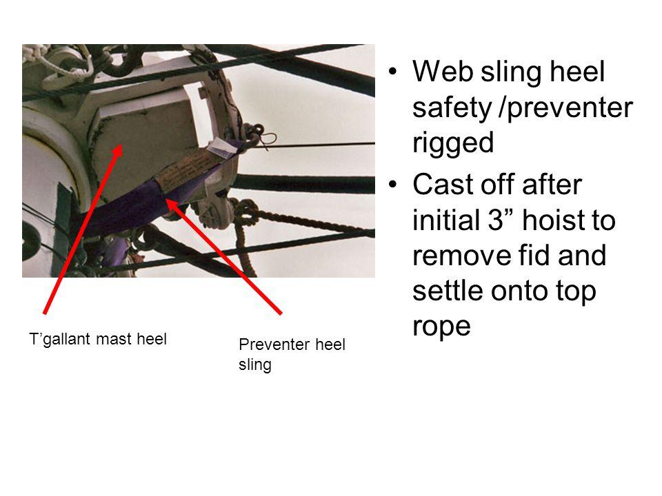 Web sling heel safety /preventer rigged