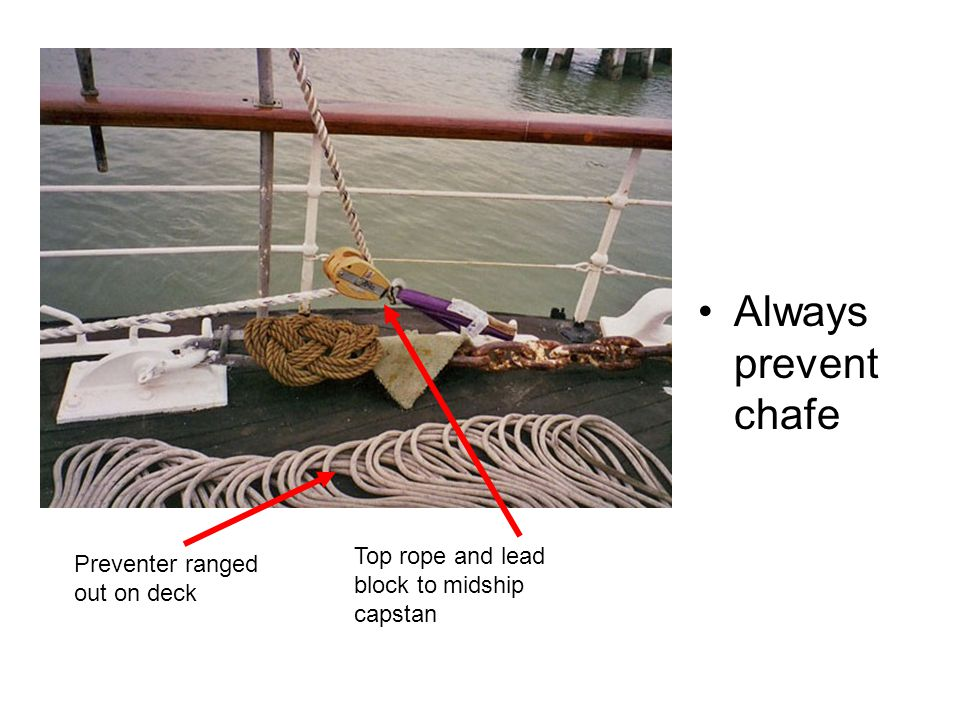 Always prevent chafe Top rope and lead block to midship capstan