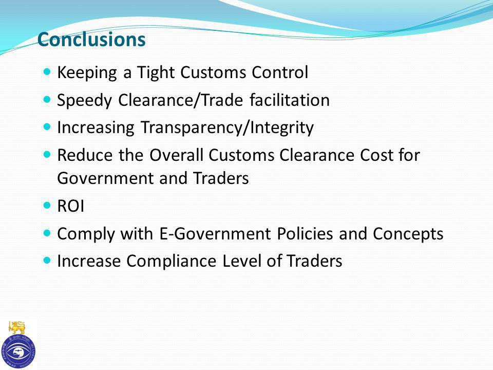 Conclusions Keeping a Tight Customs Control
