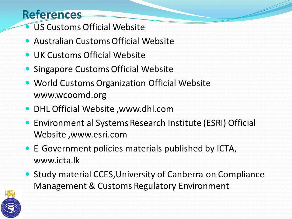 References US Customs Official Website