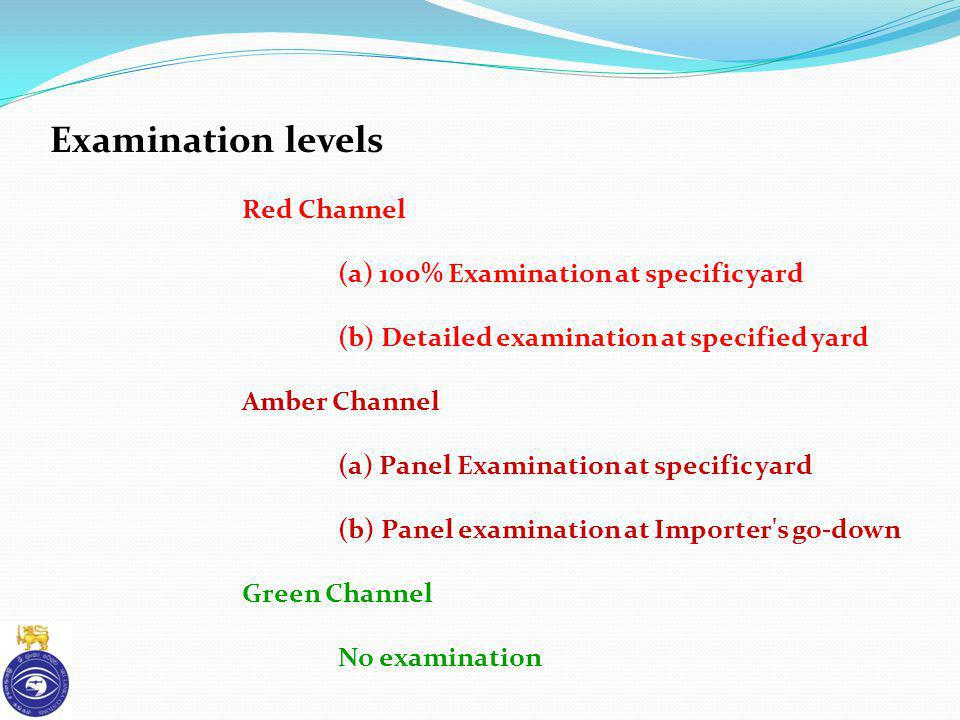 Examination levels Red Channel (a) 100% Examination at specific yard