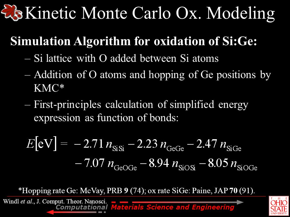 Kinetic Monte Carlo Ox. Modeling