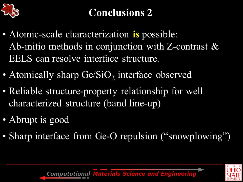 Conclusions 2 Atomic-scale characterization is possible: Ab-initio methods in conjunction with Z-contrast & EELS can resolve interface structure.