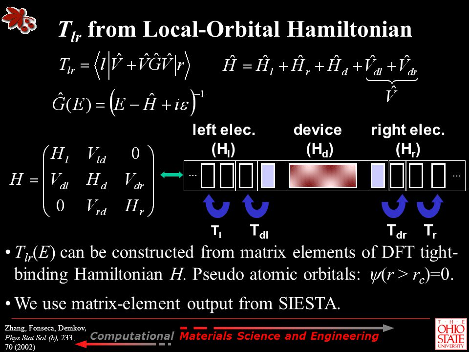 Tlr from Local-Orbital Hamiltonian