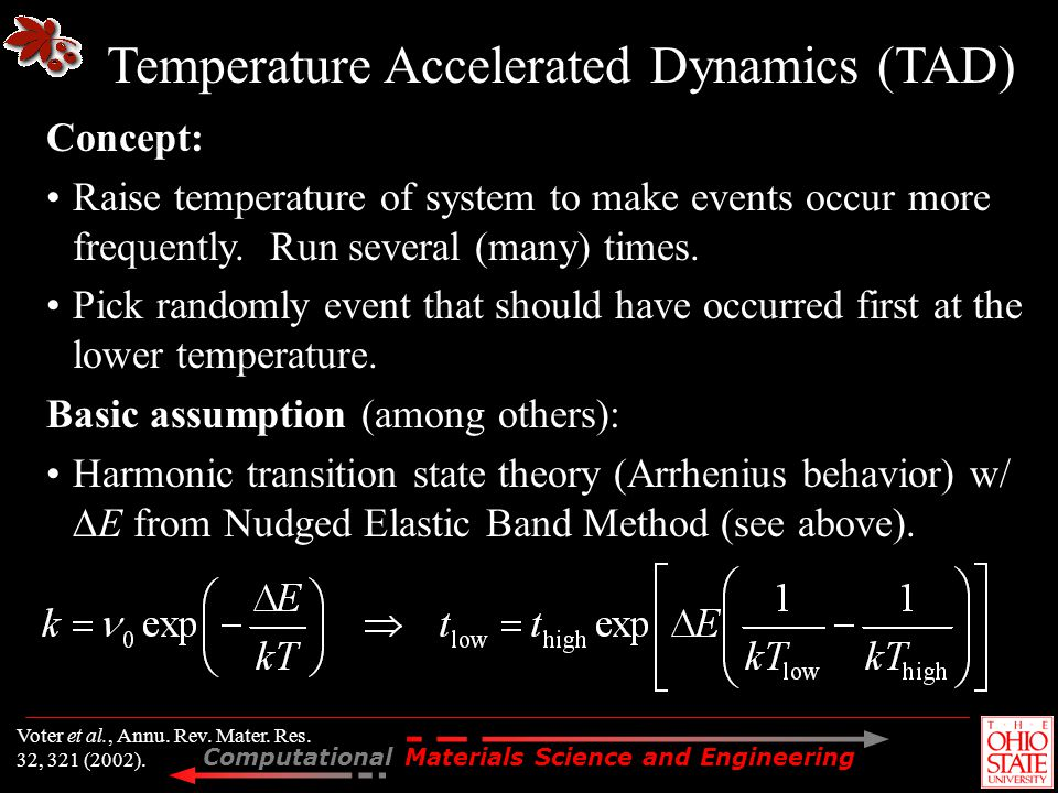 Temperature Accelerated Dynamics (TAD)