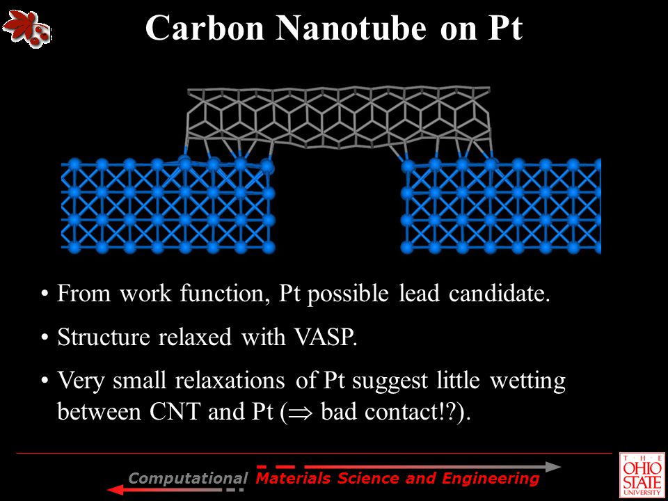 Carbon Nanotube on Pt From work function, Pt possible lead candidate.
