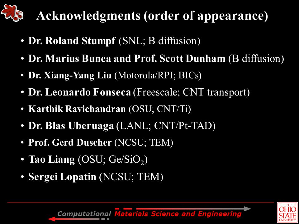 Acknowledgments (order of appearance)