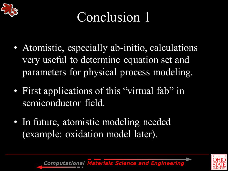 Conclusion 1 Atomistic, especially ab-initio, calculations very useful to determine equation set and parameters for physical process modeling.