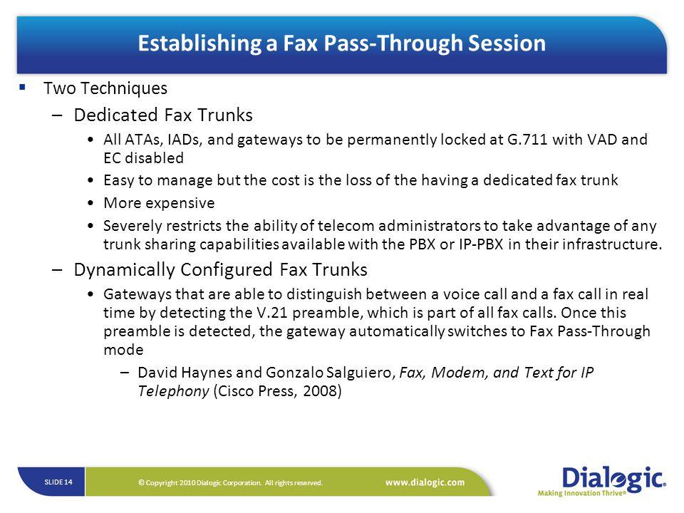 Establishing a Fax Pass-Through Session