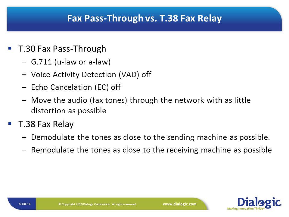 Fax Pass-Through vs. T.38 Fax Relay