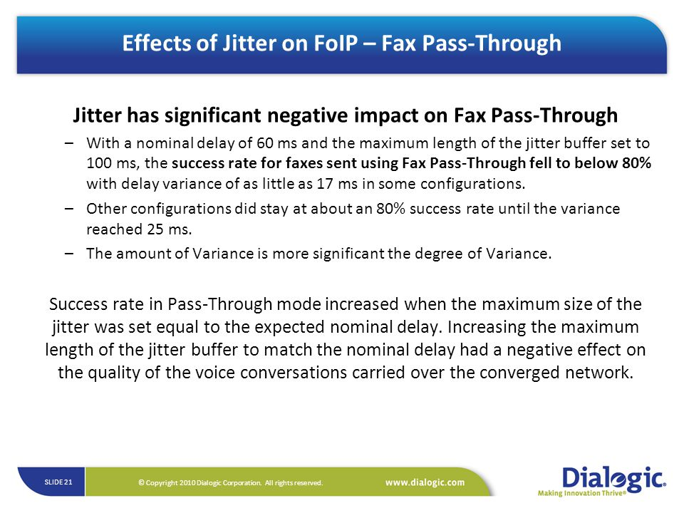 Effects of Jitter on FoIP – Fax Pass-Through