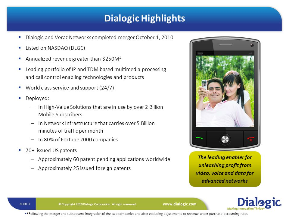 Dialogic Highlights Dialogic and Veraz Networks completed merger October 1, 2010. Listed on NASDAQ (DLGC)